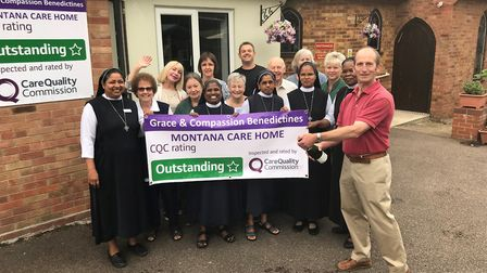 Staff at the Montana Care Home celebrate their outstanding rating by the Care Quality Commission. Pi