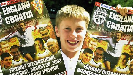 Craig Jackson was the England flag waver when the national side played Croatia at Portman Road back