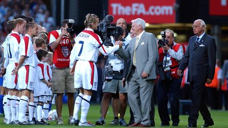 Davod Beckham and the team at Ipswich Town's home ground Picture: SIMON PARKER