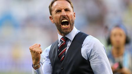 England manager Gareth Southgate celebrates victory against Sweden Photo: PA