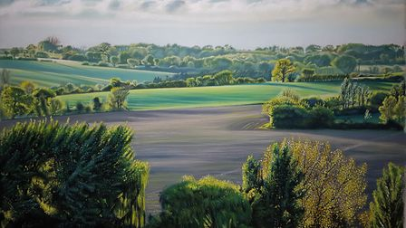 The hills of Cavendish pastel painting Picture: MARK TURNBULL