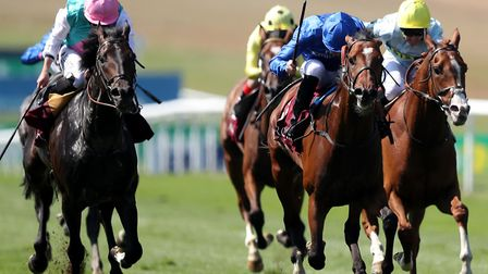 Best Solution ridden by Pat Cosgrave (centre) wins The Princess of Wales's Arqana Racing Club Stakes