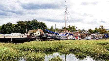 Houseboats near the Butt and Oyster in Pin Mill are being evacuated Picture: BARRY PULLEN