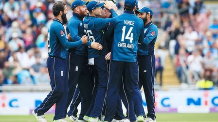 England players celebrate after Shikhar Dhawan was run out during the third Royal London One Day int