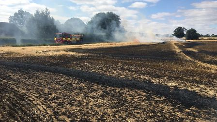 Fire crews battled a blaze in a 40 acre field in Twinstead today Picture ESSEX COUNTY FIRE AND RESCU