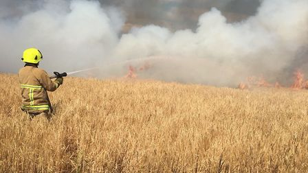 The fire is believed to have started due to an overheating combine harvester Picture ESSEX COUNTY FI