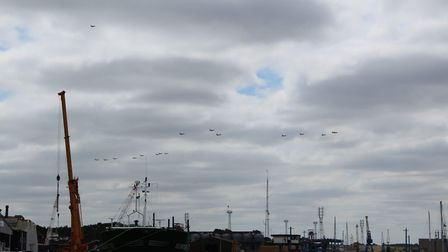 Watching the start of the #flypast over the River Orwell in Ipswich Picture: EASTERN ENTERPRISE HUB