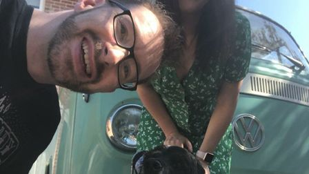 Joe Taylor, Michelle Parry, Charlie the cocker spaniel and Minty the campervan. Picture: Michelle Pa