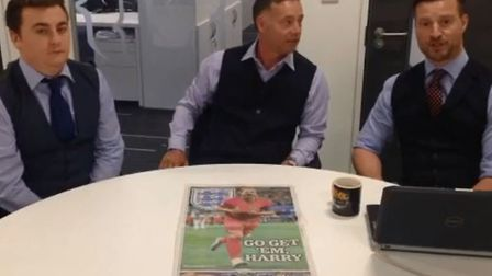 (L-R) Andy Warren, Mike Bacon and Mark Heath discuss England's chances against Croatia in their Worl