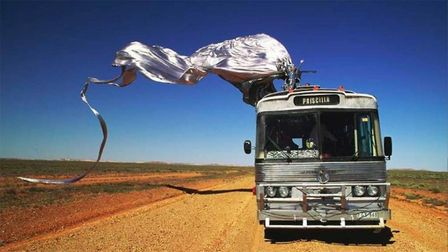 Adventures of Priscilla Queen of the Desert starring Hugo Weaving, Guy Pearce and Terence Stamp. Pho