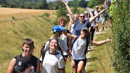 Some of the students from Newmarket Academy who took part in the charity walk along the Devil's Dyke