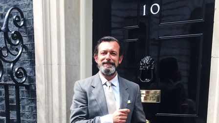 Co-founder of the Pop Gymm, Justin Bone, outside 10 Downing Street. Picture: POP GYMN