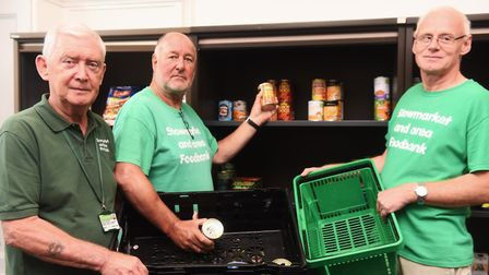 Eddie Smith, Paul Campbell and Mike Smith at the Stowmarket and area foodbank Picture: LUCY TAYLOR