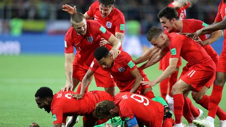 England celebrating in the World Cup 2018. Picture: OWEN HUMPHREYS