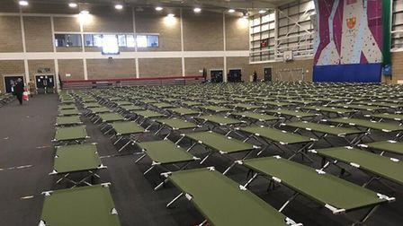 Camp beds in the gym where police officers had to sleep ahead of Donald Trump's arrival in the UK Pi