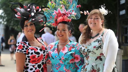 Racegoers arrive for day one of The Moet & Chandon July Festival at Newmarket Racecourse. Picture: S