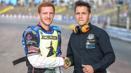 Witches team manager Ritchie Hawkins welcomes Jonas Jeppesen to Foxhall ahead of the Workington meet