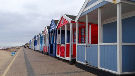 Beach huts on the prom at Southwold. Picture: PHILIP JONES