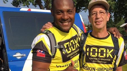 Colin Penaluna (right) and Roan Webb, who took on the 100km walk from London to Brighton for Blind V