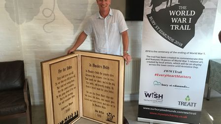 Den Humphrey with his wooden book for the World War 1 Trail. Picture: RUSSELL COOK