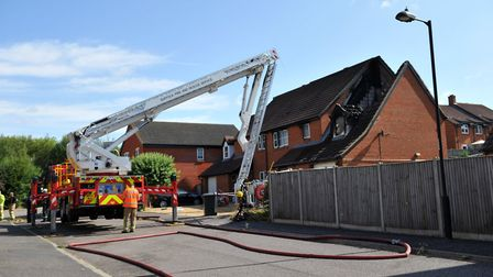 Fire services attend the scene of a house fire in Ward Close, Hadleigh Picture: ARCHANT