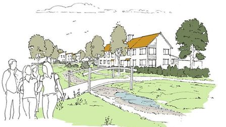 An artist's impression of the new settlement proposed to be built on Easton Park Picture: LANDSEC