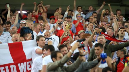 England fans celebrate in the stands after their side win the FIFA World Cup 2018 round of 16 match