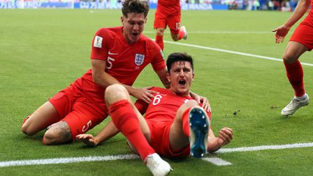 Harry Maguire (right) scored from a corner against Sweden - England are dead-ball specialists. Pictu