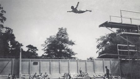 Iconic diving photo 1947 at Broomhill Lido. Picture: Ray Marshall