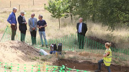 Duke of Gloucester learns about a recent dig at Sutton Hoo Picture: PHIL MORLEY
