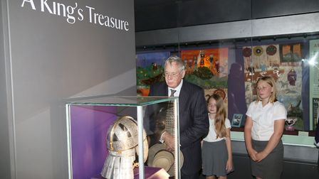 The Duke of Gloucester with Melton Primary children who helped design a new exhibition at Sutton Hoo
