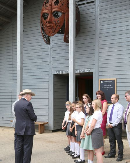 Duke of Gloucester with Melton Primary pupils Picture: PHIL MORLEY