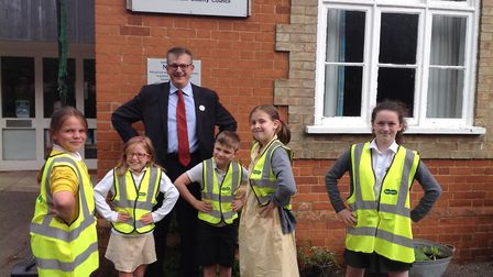 Students at Honington Primary School near Bury St Edmunds with their new hi-vis vests Picture: HONIN