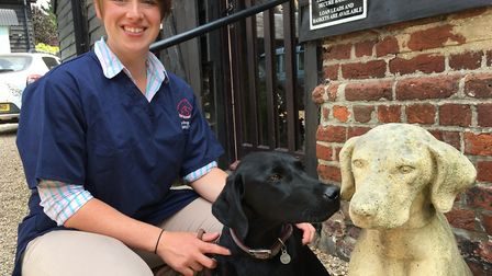 Grayling Marsh and her puppy outside The Barn Veterinary Practice, Copdock, near Ipswich, where she