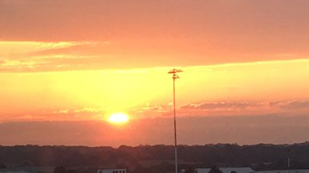 Sunset over Southend airport from Lynne's hotel room. Picture: LJM