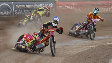 Drew Kemp leads the way at Mildenhall Picture: SIMON TRAYLEN