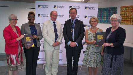 Suffolk University researchers and Police and Crime Commissioner Tim Passmore at the launch of the r