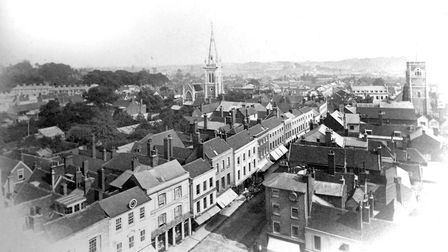This view from the clock tower of Ipswich Town Hall was taken in 1868, looking into Tavern Street P