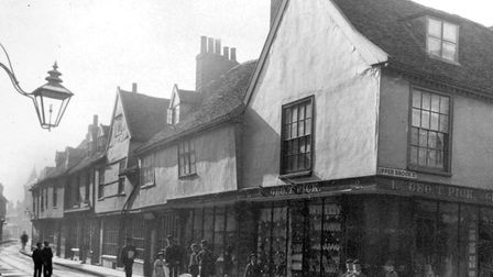 Carr Street, Ipswich, from the junction with Upper Brook Street (right) and Northgate Street in 1888