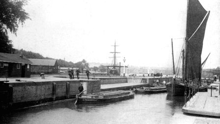 The lock at Ipswich dock in the 1880s Picture: DAVID KINDRED