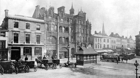 The Cornhill, Ipswich, in the 1890s, featuring a horse drawn tram, which were replaced in 1903 by el