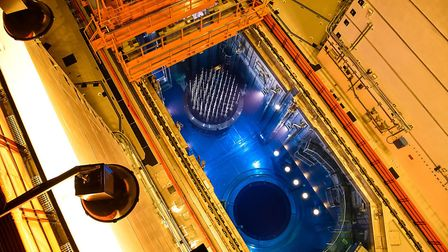 Looking down on the fuel channels for the nuclear rods - the heart of the reactor - at the first rea