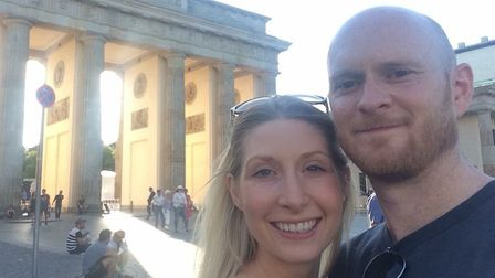 Suffolk couple Andrew and Becky Powles, pictured in Berlin, were caight up in a stampede in Nice Pic