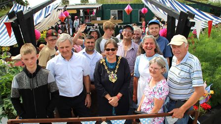 The Mayor of Ipswich , Jane Riley, ActivLives' patron Roger Osborne, staff and volunteers all opened