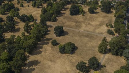 Christchurch Park is looking scorched following the long dry spell Picture: SKY CAM EAST WWW.SKYCA