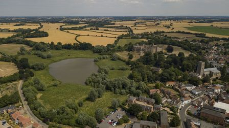 Framlingham Castle pictured during the dry spell Picture: SKY CAM EAST