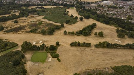 The scorched grass at Rushmere Heath, on the outskirts of Ipswich Picture: SKY CAM EAST