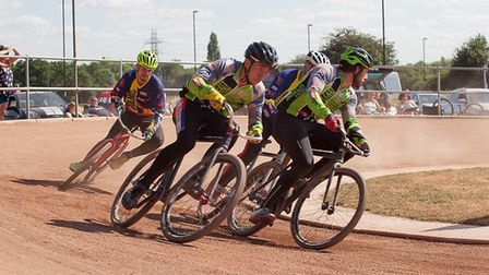 The South East & East duo Ashley Hill, left, and Josh Brooke lead Nathan Groves and Chris Timms Phot