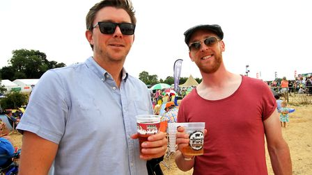 Ryan Wakeling, left, and Steve Shaw both enjoy their beers at Jimmy's Festival Picture: JAMES AGER