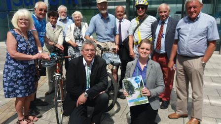 Campaigners calling for more investment in Suffolk's cycle path network gathered outside Endeavour H